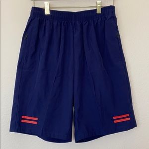 Navy Gym Shorts with Zippered Pockets